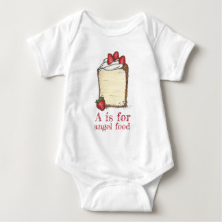 A is for Angel Food Strawberry Angelfood Cake Food Baby Bodysuit