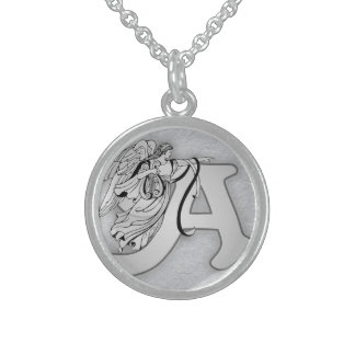 A is for Angels Round Pendant Necklace