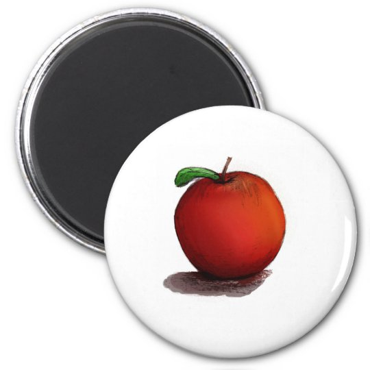 A is for Apple 6 Cm Round Magnet