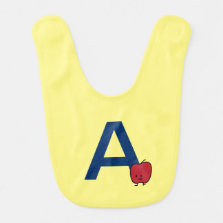 A is for Apple alphabet abc letter learning Bib