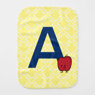 A is for Apple alphabet abc letter learning Burp Cloth