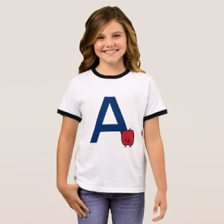 A is for Apple alphabet abc letter learning cute Ringer T-Shirt