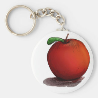 A is for Apple Basic Round Button Key Ring
