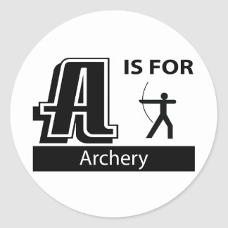 A Is For Archery Round Sticker