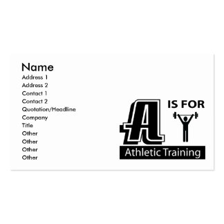 A Is For Athletic Training Business Card Templates