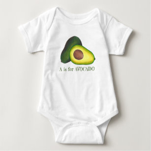 A is for AVOCADO Green Fruit Initial Alphabet ABCs Baby Bodysuit