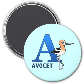 A is for Avocet 7.5 Cm Round Magnet