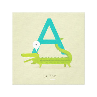 A is for... stretched canvas print