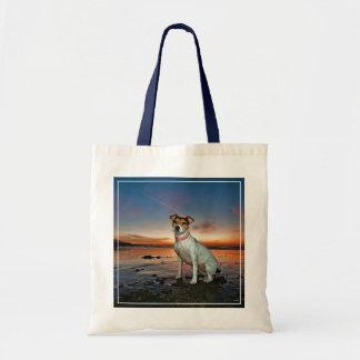 A Jack Russell Sitting Beach | Brighton Beach Tote Bag