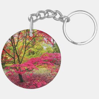 A Japanese Maple tree at Westonbirt Arboretum Double-Sided Round Acrylic Key Ring