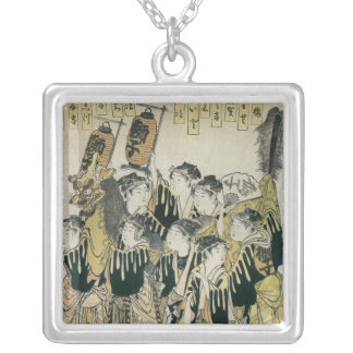 A Japanese Orchestra, Tosa School Silver Plated Necklace