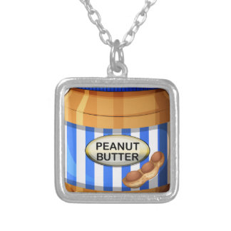 A jar of peanut butter square pendant necklace