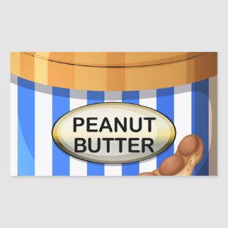 A jar of peanut butter rectangular sticker
