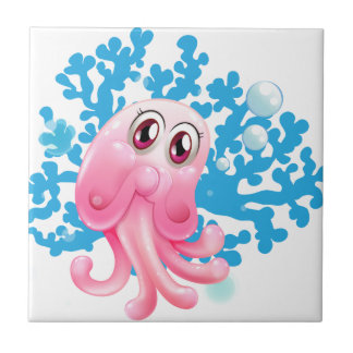 A jellyfish small square tile