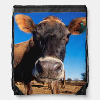 A Jersey cow being inquisitive Drawstring Bag