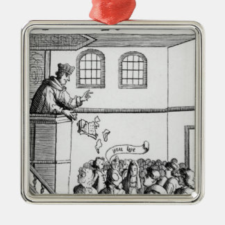 A Jesuit Preaching Against Our Bible Silver-Colored Square Decoration