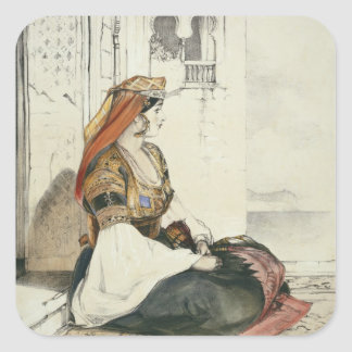 A Jewish Woman of Gibraltar, from 'Sketches of Spa Square Sticker