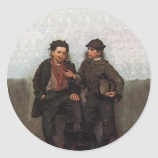 A Joint Investment ~ Shoe Shine Boys Share A Smoke Round Sticker