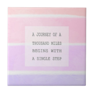 A Journey Of A Thousand Miles, Inspirational Quote Small Square Tile