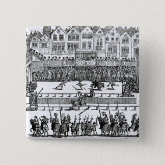 A Jousting Scene 15 Cm Square Badge