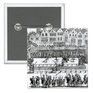 A Jousting Scene 15 Cm Square Badge
