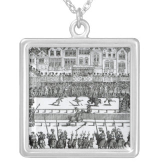 A Jousting Scene Silver Plated Necklace