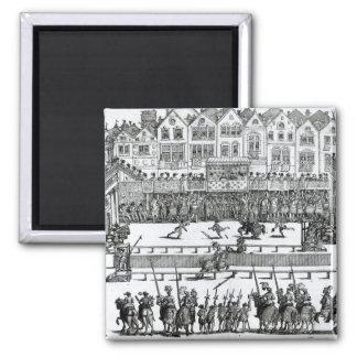 A Jousting Scene Square Magnet