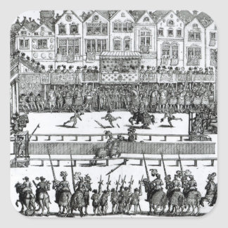 A Jousting Scene Square Stickers