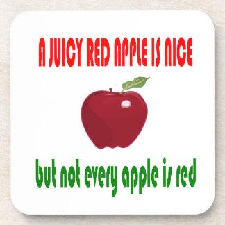 A juicy red apple is nice beverage coasters