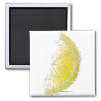 A juicy ripe organic lemon wedge fruit submerged magnet
