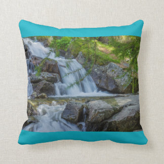a  jump of a wateterfall l on throw  Pillow, Cushion