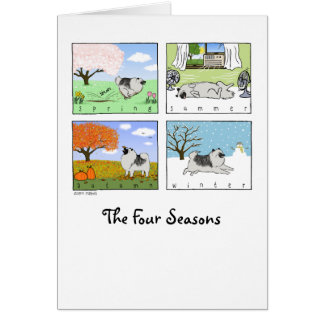 A Keeshond's Four Seasons Note Card