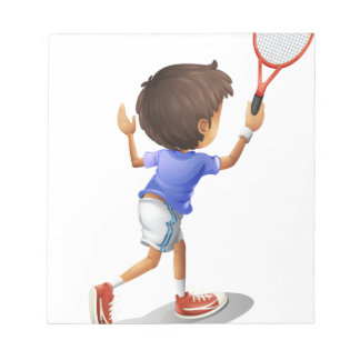 A kid playing tennis notepad