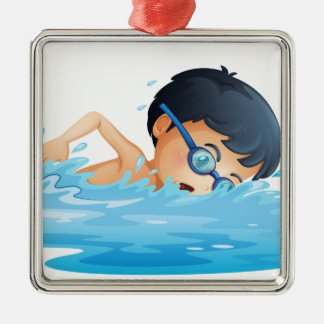 A kid swimming christmas ornament