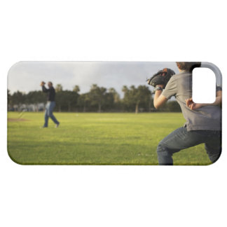 A kid wearing a baseball glove waits for his dad iPhone 5 cover