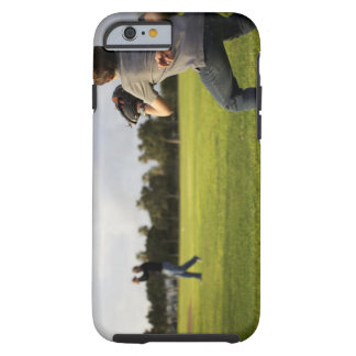 A kid wearing a baseball glove waits for his dad tough iPhone 6 case