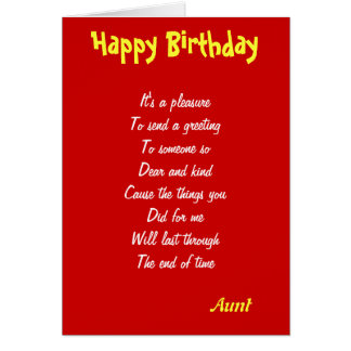 A kind Aunt birthday cards