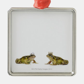 a king and queen frog looking at each other Silver-Colored square decoration