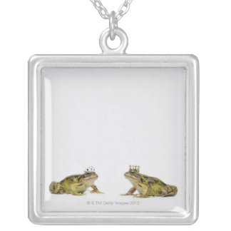 a king and queen frog looking at each other silver plated necklace