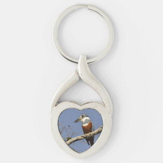 A Kingfisher Perches in a branch of a Tree Silver-Colored Twisted Heart Key Ring