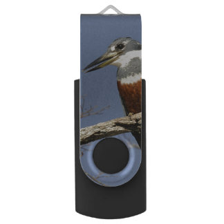 A Kingfisher Perches in a branch of a Tree Swivel USB 2.0 Flash Drive