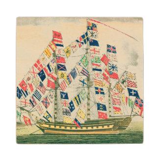A King's Ship Wood Coaster