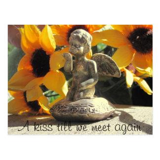 A Kiss Till We Meet Again Angel Statuette Postcard