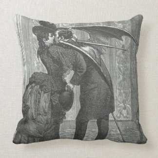 A Kiss Victorian/Gothic Winged Vampire Throw Pillow
