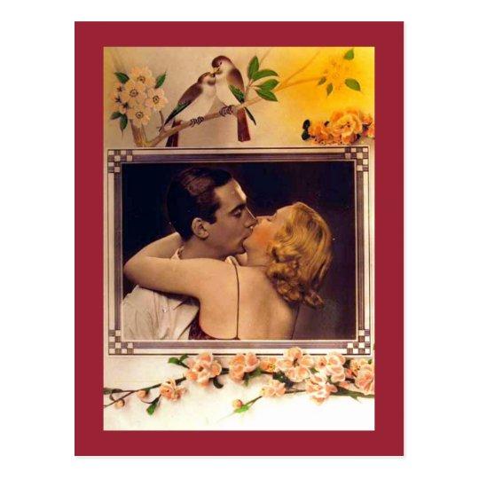 A Kissing Romantic Couple Vintage Postcard