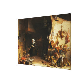 A Kitchen Interior with a Servant Girl Canvas Print