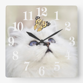 A kitten and a butterfly square wall clock