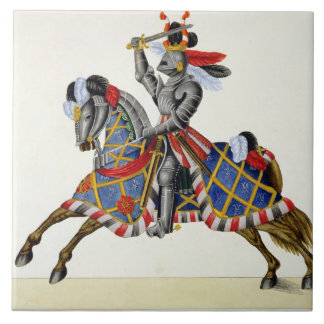 A knight at a tournament, plate from 'A History of Large Square Tile