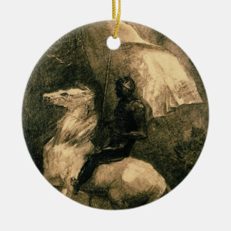 A Knight, c.1885 Round Ceramic Decoration