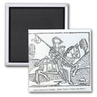 A Knight, from Caxton's 'Game of the Chess' Square Magnet